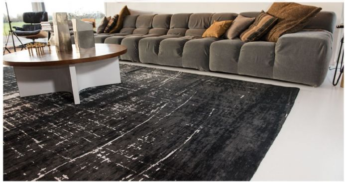 Louis De Poortere Mad Men Collection Rug - Griff White on Black 8655